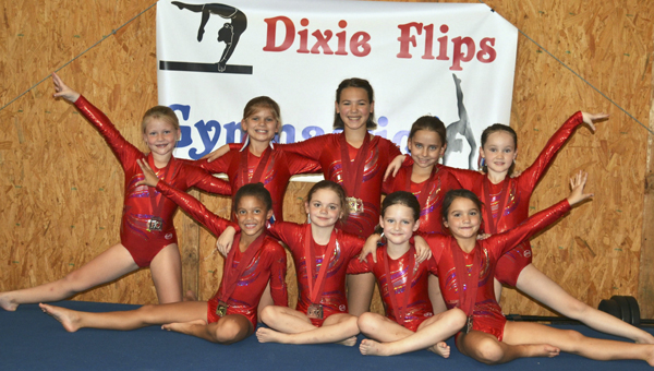 The Dixie Flips started their season in mid-August in Montgomery. Front Row: Jaden McGee, Brooke Egbert, Molly Bohannon, Cameran Duncan, Back Row: Sarah Lloyd Free, Keenan Lee McHugh, Ruth Stavens, Shyanna Montoro, Evey Craig.--Submitted Photo