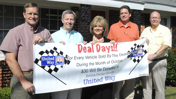 "File let's make a deal: Selma car dealers Todd Stewart and Jon Moore of Moore-Stewart Ford and Moore-Stewart Honda, Frances Turner of Turner Chevrolet and Bill Porter of Reliable Cadillac GMC Truck have joined United Way of Selma and Dallas County director Jeff Cothran in bringing back a fundraising campaign called ""Deal Days."""