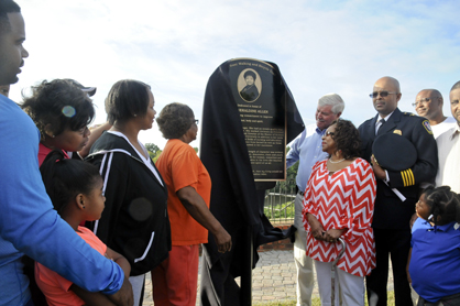 A plaque dedicated to Dr. Geraldine Allen was unveiled Saturday.