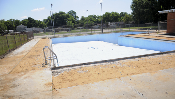 This is a photo of the Dinkins Pool during renovation work in July. Phase one of the project was recently completed.--File Photo