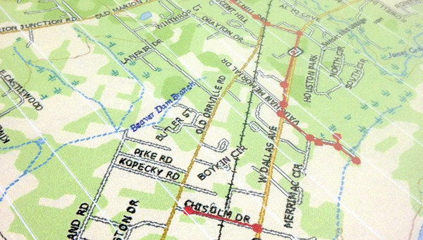 A map, compiled by city contract engineer Ray Hogg, provided members of the Selma City Council an idea of where much-needed sewage repairs are needed and the areas of work to be funded by a  $4.275 million loan through ADEM. -- Tim Reeves