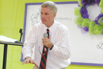 District Judge Bob Armstrong speaks at the grand opening for Hope Academy Thursday. Formerly known as Phoenix Alternative Program, Hope Academy will serve troubled youth through the collaborative leadership of behavioral adjustment programs Phoenix Alternative, Compass and SPAN.