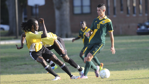 Diego Outeiral controls the ball for Concordia College Alabama in the Hornets 4-0 win over Oakwood University earlier this year. The Hornets will participate in the United States Collegiate Athletic Association national championship tournament in November. --File Photo