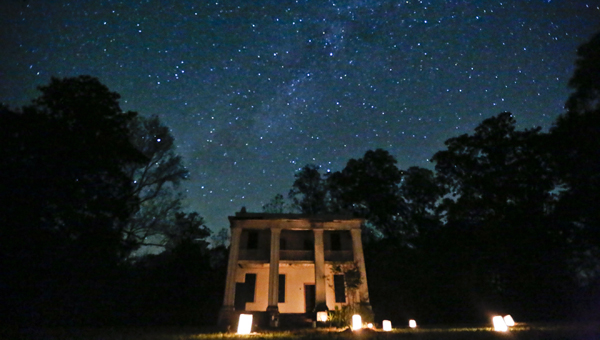The Milky Way overlooks the slave quarters at Old Cahawba Archeological Park Friday night during the haunted history tours. --Alaina Denean