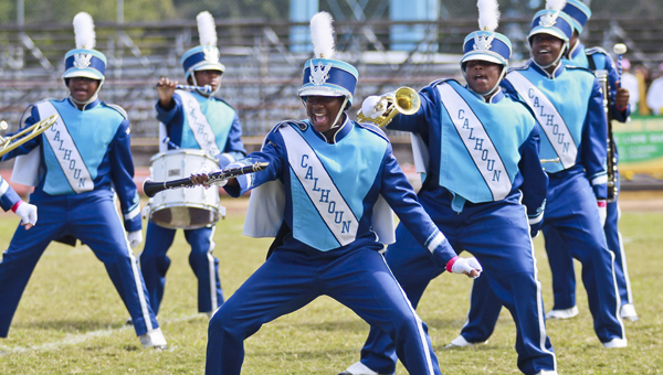 The Calhoun High School Marching band performs its halftime show during the Battle of the Bands competition Saturday at Memorial Stadium. --Alaina Denean