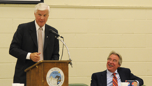 University of Alabama athletic director Bill Battles speaks to the Selma Quarterback Club on Monday.