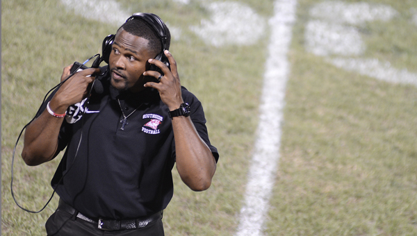 Southside head coach Daniel Flowers looks down the Panthers' sideline during a game earlier this season. Friday night Flowers' Panthers will take on Clarke County in a key region game.--File Photo