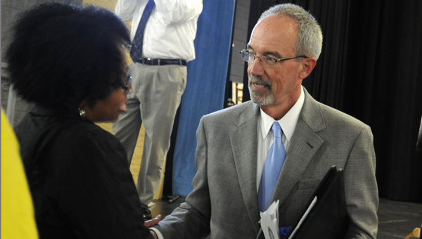 """State Superintendent of Education Tommy Bice spoke in Selma on Tuesday about """"Plan 2020.""""--Sarah Robinson"""