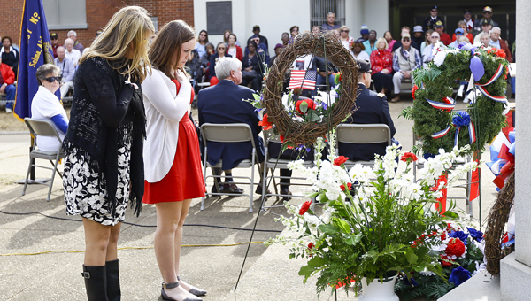 Different schools and organizations donated wreaths for the Veterans Day ceremony.