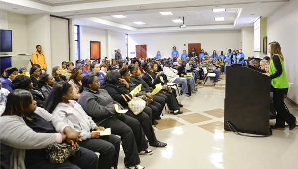 Barbara Etheridge, emergency preparedness coordinator with the Alabama Department of Public Health, speaks to a full room of guests during a forum Tuesday at Wallace Community College Selma.