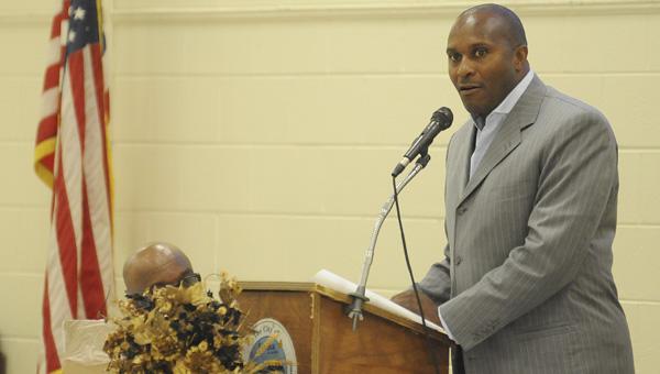 Alabama State head football coach Reggie Barlow spoke at the Selma Quarterback Club Monday night at the Carl C. Morgan Convention Center.