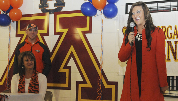 Morgan Academy softball star Kendall Veach thanks friends and family for coming Wednesday to celebrate her signing with the Auburn Tigers. --Daniel Evans