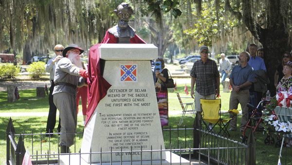 A bust of Civil War general Nathan Bedford Forrest has been erected in Old Live Oak Cemetery.