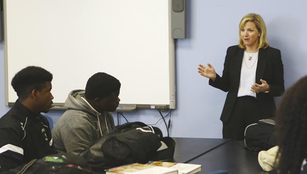 Jana Garner speaks to a Selma High School class Friday on Law Day.