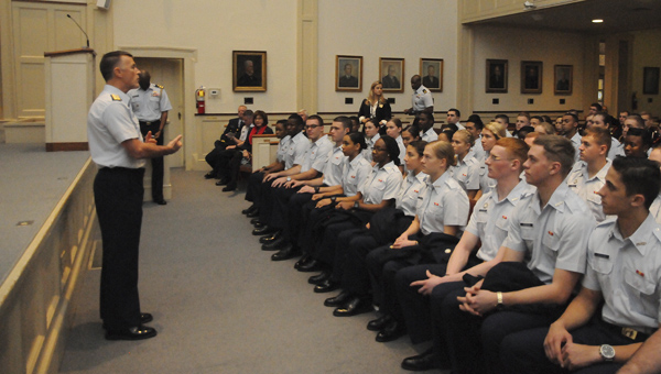 Admiral Paul Zukunft spoke to cadets of Marion Military Institute on Friday.--Chelsea Vance