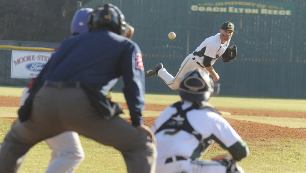 Concordia pitcher Dustin Holmes throws a pitch during the Hornets loss 6-4 to Lane College on Friday at Bloch Park. The teams split a doubleheader Friday. —Daniel Evans