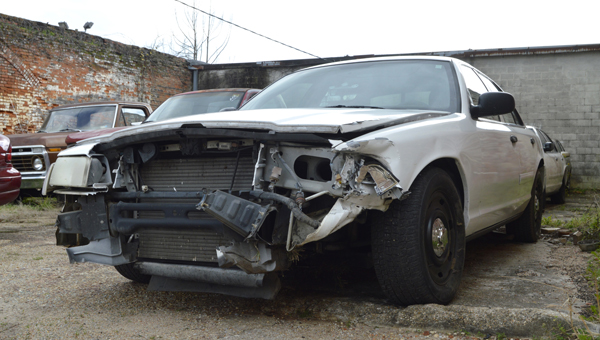 An unmarked Selma Police Department car was stolen Monday night from the department's lot and later crashed at the intersection of Highway 41 and U.S. 80.