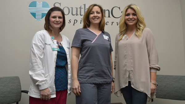 SouthernCare Hospice Services has opened an office next to Vaughan Regional Medical Center. Shown are Amy Messer, R.N. and patient care coordinator; Beverly Morgan, R.N. and director of operations; and Mary Susan, hospice care consultant.