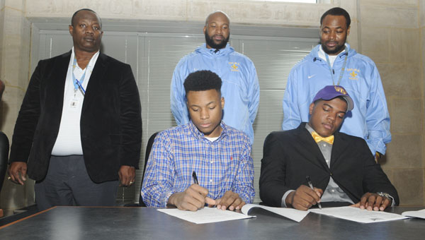 Selma's Herschell Brown and Aderick Moore sign their letters of intent. Brown is attending Benedict College, while Moore will be going to Tennessee Tech. --Daniel Evans