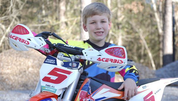 Pearce Yeargan, 7, will represent the state of Alabama in the KTM Jr. Supercross Challenge Saturday at the Georgia Dome.  Yeargen wears the No. 5, which is the same number as his favorite rider, Ryan Dungey.  --Submitted Photo