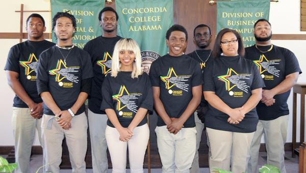 The Concordia College Alabama Quiz Bowl Team is shown from left to right: Mark Arnold, De'Angelo Stafford, Kelsey Tripp, Bruktwait Shetta, Deljuan Bedell-Jessie, Morgan Lee, Sunday Ogundipe and Victor Crowe.