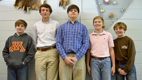 Trevor Wilson, 13, Richard Alan Waters, 14, Myles Reeves, 14, Andrew Thomas, 12, and Cole Wilson, 11, represented Morgan Academy at the 2016 AISA District Science Fair on Wednesday.
