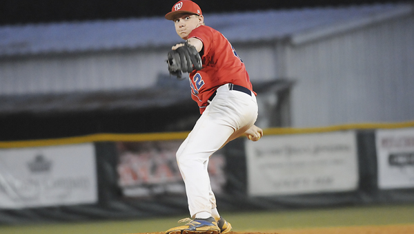 Wallace pitcher Tyler Payne throws a pitch during the second game of a doubleheader Thursday at Bloch Park.  The Patriots beat Faulkner University 4-1, then lost to Meridian Community College 6-4. —Justin Fedich