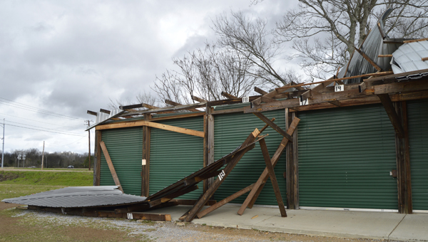 Booths at The Selma Flea Market were damaged in Tuesday night's storms.