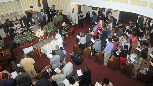 A mass meeting was held Thursday at Tabernacle Baptist Church, a nod to the church meetings of the voting rights movement.