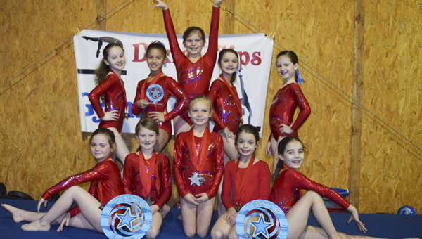 The Dixie Flips gymnasts pose with their awards at the Gymstar Invitational in February.  From left to right (standing), Evey Craig, Jaden McGee, Keenan Lee McHugh, Cameran Duncan and Molly Bohannon.  From left to right (sitting), Brooke Egbert, Hadley Verhoff, Alyssa McCloud, Sarah Moore and Madalyn Stevens.
