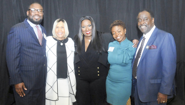 Shown from left to right are speakers Rasheed Marshall, Robbie Montgomery, Erica Barrett, Dru Ealon and Steve Hightower at Friday's Business Empowerment Symposium.