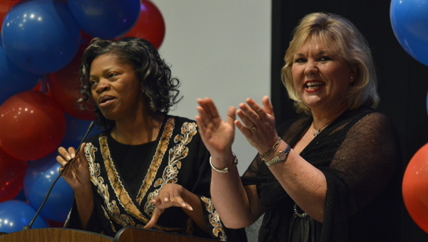 Selma City Council members Angela Benjamin and Susan Keith speak at a reception Thursday evening at the Carl C. Morgan Convention Center.