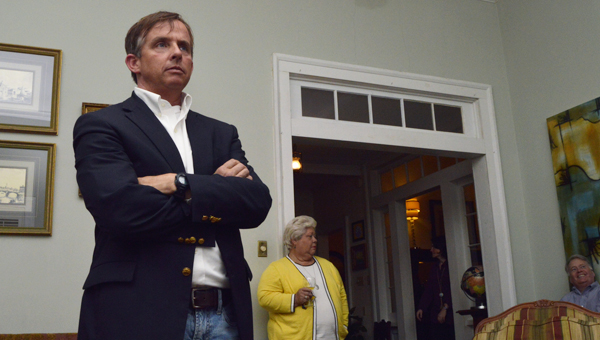 Don McMillan waits for poll results at his home in Marion with close friends and family. --Emily Enfinger