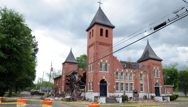 The roof of Green Street Baptist Church collapsed Wednesday around 8:30 p.m. No one was injured.