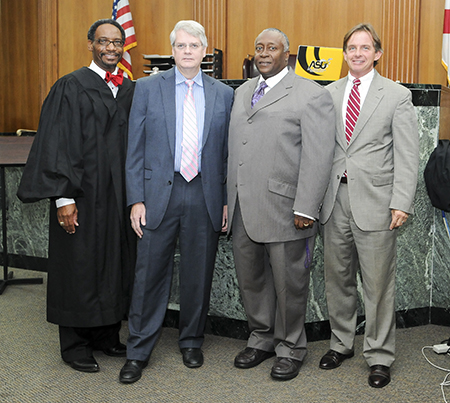 Meigs poses with judges Marvin Wiggins, Collins Pettaway and Don McMillan. Meigs was appointed to the bench in 1991.